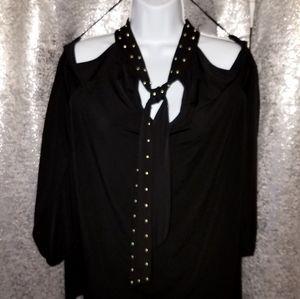 MK women's cold shoulder long sleeve blouse